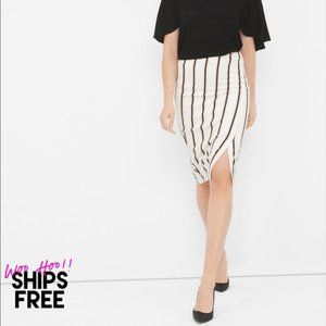 WHBM Asymmetric Slit Stripe Pencil Skirt #0697